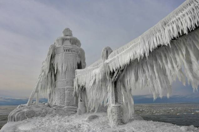 Frozen Lighthouse, Lake Michigan