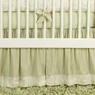 Baby Toile Green Crib Bedding Set