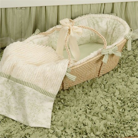 Baby Toile Green Moses Basket