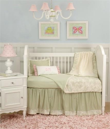 Baby Toile Green Toddler Bedding Set