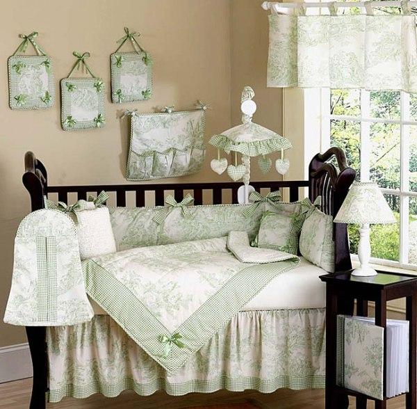 Jojo French Green Toile Baby Bedding